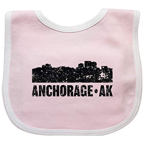 Inktastic - Anchorage Alaska City Skyline with Grunge Baby Bib Pink/White 35c33