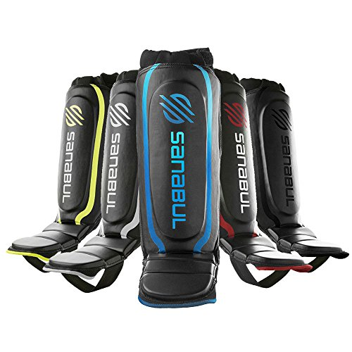 Sanabul Essential Hybrid Kickboxing MMA Shin Guards (Blue, L/XL)