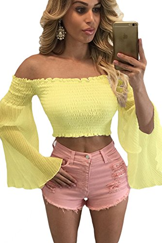 New Damen Gelb Off Schulter Bell Sleeve abgeschnittenes Top Club Wear Sommer Casual Tops Größe S UK 10–12