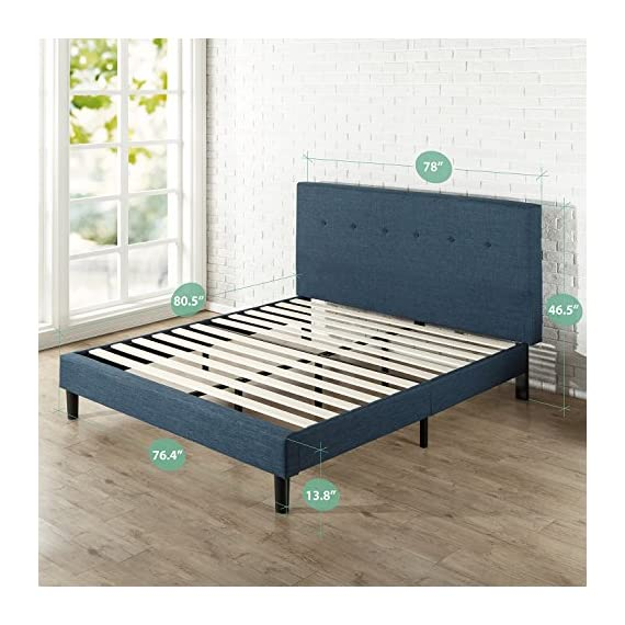 Zinus Omkaram Upholstered Navy Button Detailed Platform Bed / Mattress Foundation / Easy Assembly / Strong Wood Slat Support, King - Classic styling with navy upholstery Headboard, frame, and wood slats included / Mattress sold separately Smartly packaged in one carton with the footboard, frame, legs, and wooden slats conveniently located in the zippered compartment in the back of the headboard for easy assembly - bedroom-furniture, bedroom, bed-frames - 51 1EkGnc8L. SS570  -