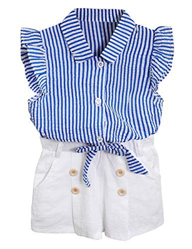 Little Kid Girl Clothes Striped Shirt Flare-Sleeve Collared Blouse + Casual Button Shorts Summer Outfits 2PCS Set(4-5 T)