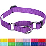Blueberry Pet 12 Colors Safety Training Martingale Dog Collar, Dark Orchid, Medium, Heavy Duty Nylon Adjustable Collars for Dogs