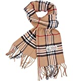 Plaid Cashmere Feel Classic Soft Luxurious Winter Scarf For Men Women (Camel)