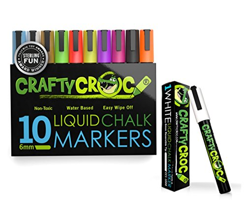 (Liquid Chalk Markers, 10 Pack of Neon Chalk Pens and 1 White Liquid Chalk Marker Set, For Nonporous Chalkboards, Bistro Boards, Glass and Windows)