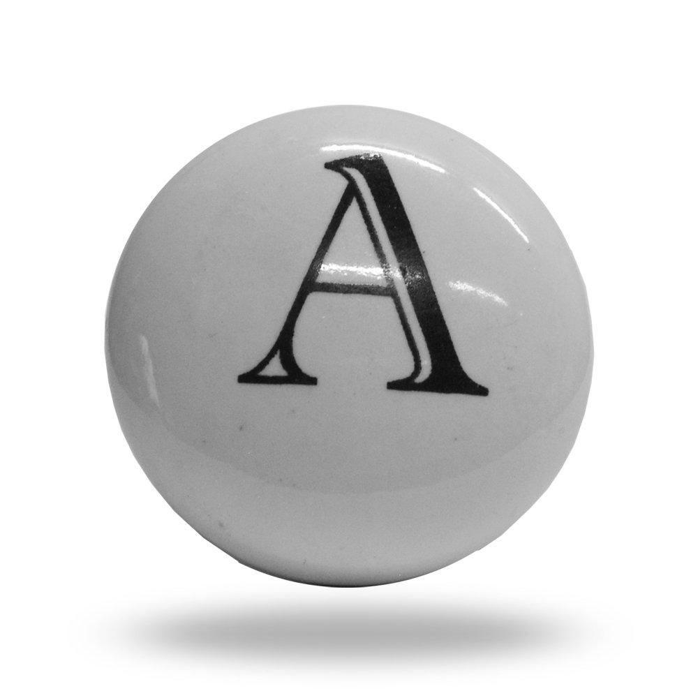 Porte de l'alphabet Lettre A d'armoire en cé ramique Bouton de tiroir et poigné e, blanc Trinca-Ferro