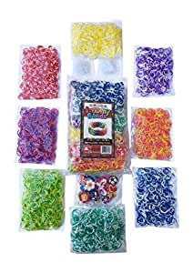 3200 Tie Dye Rainbow Colored Loom Band Refill Kit - 8 Brilliant Tie Dye Colored Rubber Bands Conveniently Separated - 400 of Each Mixed Color - 100+ Clips and 30+ Charms