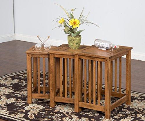 Sunny Designs Sedona 3 Piece Nesting Table in Rustic Oak