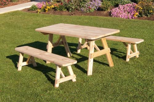 Outdoor 5 Foot Pine Picnic Table with 2 Benches DetachedUnfinished Amish Made USA