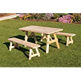 Outdoor 4 Foot Pine Picnic Table with 2 Benches Detached *Unfinished * Amish Made USA