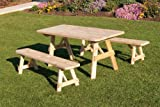 Outdoor 5 Foot Pine Picnic Table with 2 Benches Detached *Unfinished * Amish Made USA