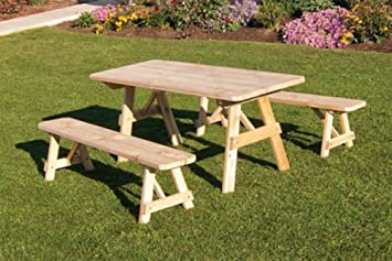 outdoor 4 foot pine picnic table with 2 benches detached unfinished amish made usa