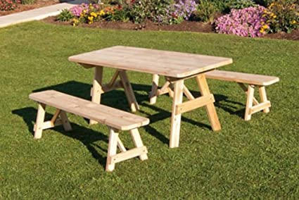 Amazoncom Outdoor Foot Pine Picnic Table With Benches - Unfinished wood picnic table