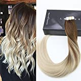 hair extention package - LaaVoo 20 Inch Seamless Human Hair Extension Balayage Ombre Hair Extensions Dip Dye Hair Color #4 Dark Brown Fading to Color #60 Plautinum Blonde Tape in Real Hair Extentions 50g 20Pcs Per Package