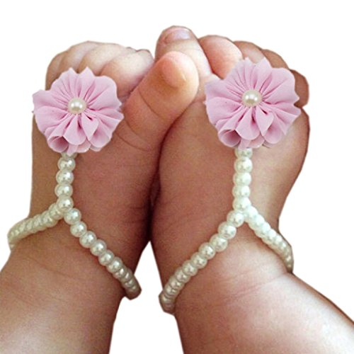 FEITONG@ 2015 Cute Pearl Chiffon Barefoot Toddler Foot Flower Beach Sandals by FEITONG Rosado
