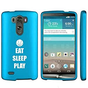 LG G3 Snap On 2 Piece Rubber Hard Case Cover Eat Sleep Play Basketball (Light Blue)