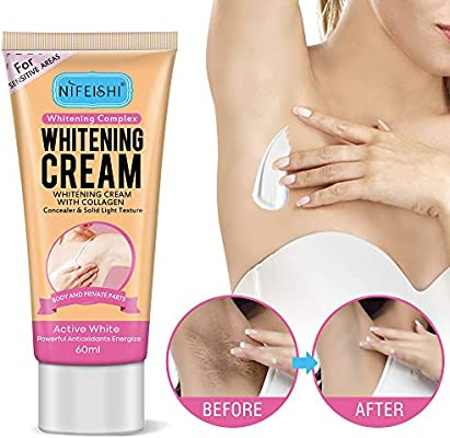 Skin Whitening Cream, Lightening Cream Effective for Armpit, Knees, Elbows, Sensitive & Private Areas, Whitens, Nourishes, Repairs & Restores Skin(60ml)