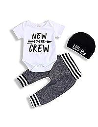i-Auto Time Newborn Baby Boy Clothes Letter Print Romper+Long Pants+Hat Outfits Set