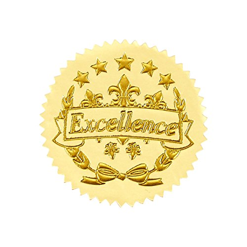 96 Award Stickers - Gold Certificate Seals, Excellence Star Stickers for Award Certificates