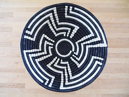 African Basket / Rwanda Basket / Woven Bowl / Sisal  Sweetgrass Basket / Black, White