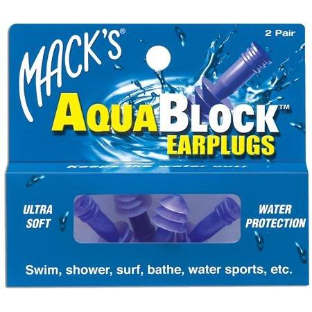 Mack's AquaBlock Earplugs, 2 Pair, Comfortable, Waterproof, Ear Plugs for Swimming, Snorkeling and Showering ()