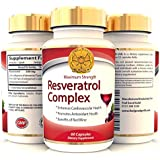 Trans Resveratrol Max Strength 250mg High Potency Antioxidant Supplement - Same Benefits as Grape Seed and Red Wine Polyphenols Extract - Look Younger Feel Better - 60 Capsules - 2 a day for 500mg Max Strength.