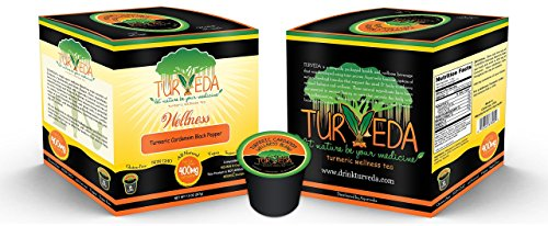 Turveda Tea, Turmeric Cardamom Golden Tea (Decaffeinated) for Keurig K-Cup Brewers, 95% Curcumin Tea K-Cup Supplement for Cardiovascular Support & Healthy Aging, 100% Natural, 15 Single Serve Cups - incensecentral.us