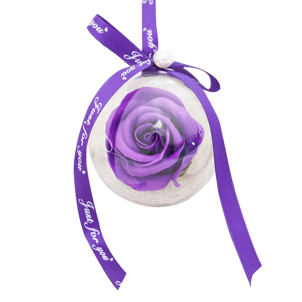 Baulody Rose Plastic Ball Pendant Soap Flower Decoration (Purple)