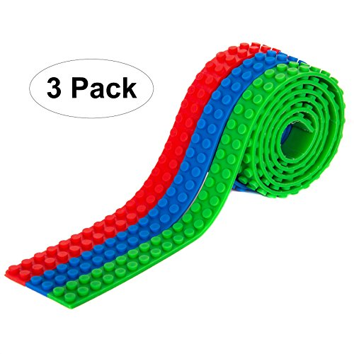 BrickTape Block Tape for Lego Bricks - 3 ROLL PACK(Red, Green, Blue) Compatible with all Major Brands - Reusable Adhesive - Creative Building Toy for Kids