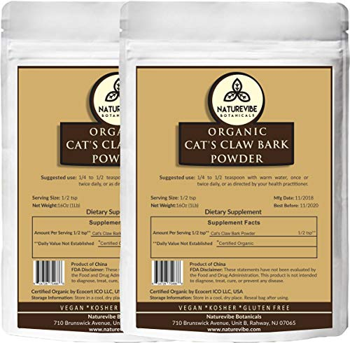 Naturevibe Botanicals Organic Cats Claw Bark Powder (2lbs) (2 Pack of 1lbs Each), Uncaria tomentosa | Non-GMO & Gluten Free | Supports Immune System.