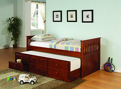 Trundle Cherry Daybed (Coaster Home Furnishings La Salle Twin Captain's Daybed with Trundle and Storage Drawers Cherry)