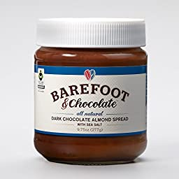 Barefoot & Chocolate - Chocolate Almond Coconut and Dark Chocolate Almond Spread with Sea Salt - 2 Jar Pack (9.75oz Dark & 9.75oz Coconut)
