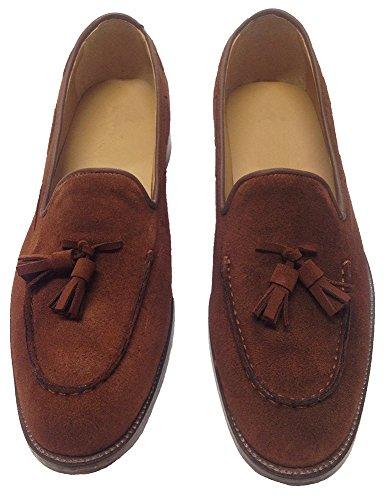 scarpe uomo mocassini in camoscio marroni con nappine