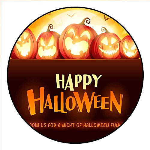Hua Wu Chou Round Exercise matround BBQ Grill mat D3'/0.9m Happy Halloween Jack O Lantern Party Halloween Pumpkin Patch in The Moonlight ()