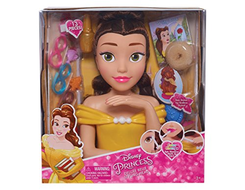Princess Makeup Disney (Disney Princess JPL87355 Princess Deluxe Belle Styling Head, Yellow (Pack of 4))