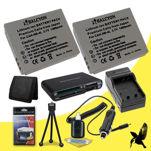 Two Halcyon 1400 mAH Lithium Ion Replacement NB-2LH Battery and Charger Kit + Memory Card Wallet + SDHC Card USB Reader + Deluxe Starter Kit for Canon Powershot ELPH 100 HS 8.0 MP Digital Camera and Canon NB-4L