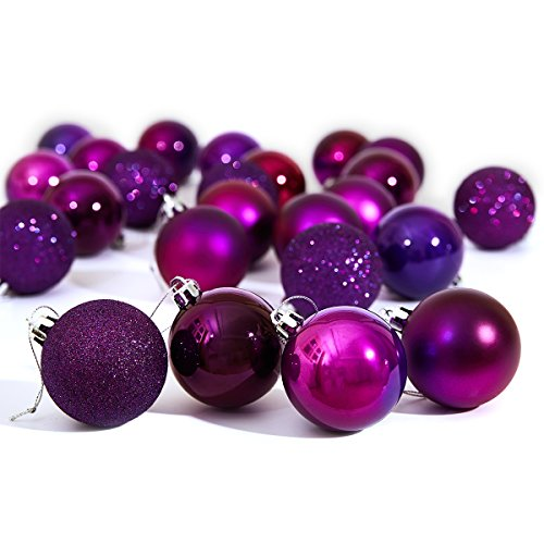 Purple Christmas Holiday Ornaments - 9