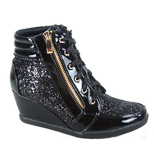 49ab99009624 Forever Link Remy-18 Women s Fashion Light Weight Lace up Glitter Sneaker  Shoes