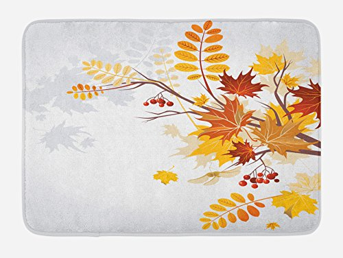 Lunarable Fall Bath Mat, Various Faded Fall Leaves Bouquet November Environment Foliage Romantic Graphic, Plush Bathroom Decor Mat with Non Slip Backing, 29.5 W X 17.5 W Inches, Yellow Orange