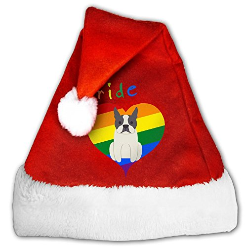 Shapyy Gay Pride Heart Dog Christmas Santa Claus Plush Hat M