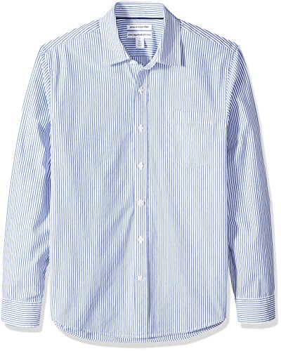 Amazon Essentials Men's Slim-Fit Long-Sleeve Stripe Casual Poplin Shirt, White/Blue Stripe, X-Large