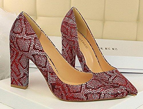 Aisun Sexy Serpent Motif Pointu Orteil Habillé Bas Coupe Chunky Haut Talon Slip Sur Les Pompes Chaussures Vin Rouge