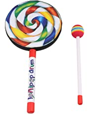 "BQLZR 5.9"" Plastic Lollipop Shape Hand Drum Percussion Musical Instruments Education Toys for Kid and Baby with Candy Drumstick"