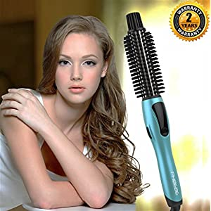 PHOEBE Curling Iron Brush, 1 Inch Dual Voltage Ceramic Tourmaline Ionic Hot Hair Curler Brush, Professional Anti-Scald Instant Heat Up Curling Wands, Heated Styler Brush for Long Hair(Blue)