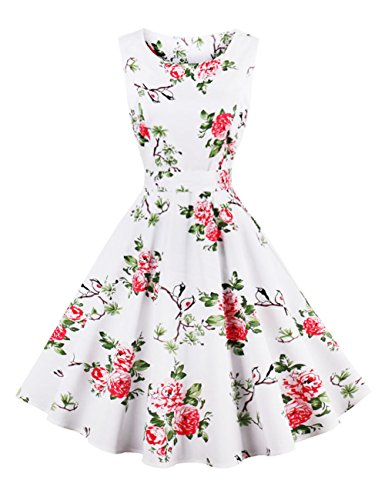 LaceLady BoatNeck Vintage Sleeveless Tea Dress with Belt Pleated Swing Party Floral Birds - Big Bird Vintage