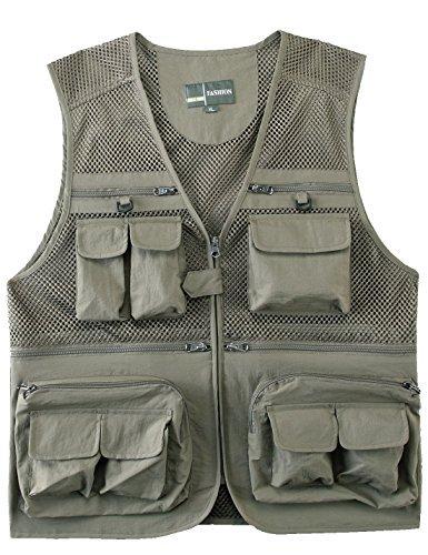 Mesh Shooting Vest - Zhusheng Men's Mesh Multi Pockets Photography Hunting Fly Fishing Outdoor Quick Dry Vest Breathable Waistcoat Jackets (Large(Asia Tag 3XL), Light Khaki)