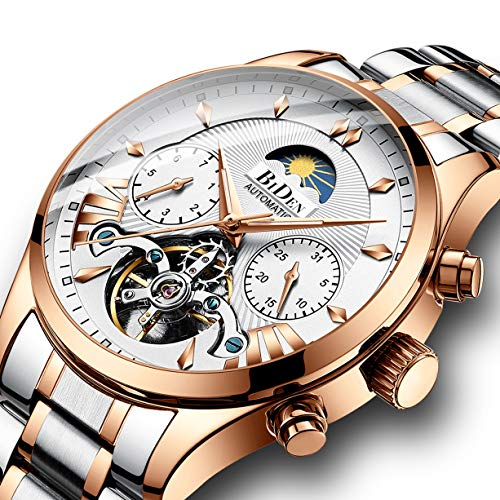 (Watches, Men's Watch, Luxury Business Automatic Mechanical Skeleton Stainless Steel Calendar Flywheel Roman Numeral Moon Phase Waterproof Wrist Watch Gold White)