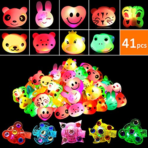 41 Pcs Light Up Toys, Kids Party Favours Supplies with 36 Flashing Rings and 5 Glowing Bracelets, Glow in the Dark Flashing Toys, LED Party Bag Fillers for Birthday Party, Prizes, Halloween Christmas