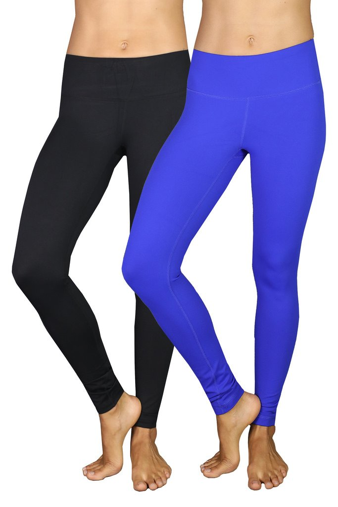 90 Degree By Reflex Power Flex Yoga Pants - Black and Royal Blue 2 Pack XS