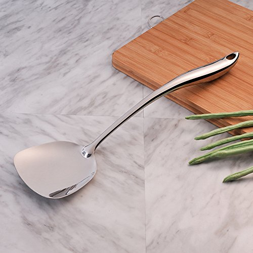 MOCRUX Kitchen Spatula Solid Turner 304 Stainless Steel with Ergonomic Hollow Handle for Comfortable Grip and Heat-resistant Protection,Perfect for Flipping Grilling & Frying 15.4inch ()