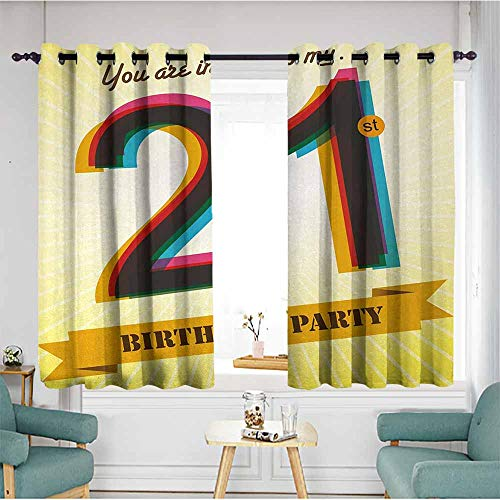 duommhome 21st Birthday Decorative CurtainsforLivingRoom Invitation to an Amazing Birthday Party on a Yellow Radial Backdrop Image Suitable for Bedroom Living Room Study, etc.55 Wx63 L Multicolor ()